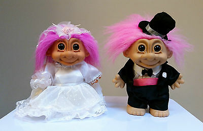 Lot Of 2 Wedding Troll Dolls 70's-90's Bride and Groom Large Size 6 5/8""