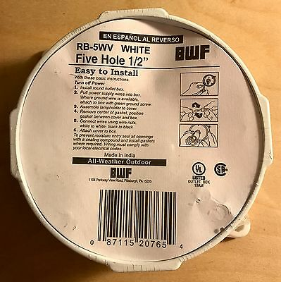 """BWF Round Outlet Box  RB-5WV, Five Hole 1/2"""" All Weather Outdoor/White"""