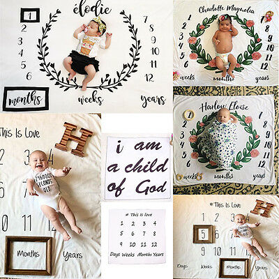 Newborn Baby Letter Milestone Blankets for Photography Photo Props Shoots
