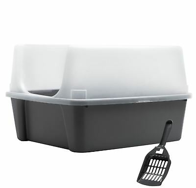 IRIS Open Top Litter Box with Shield and Scoop Gray Tornado Gray