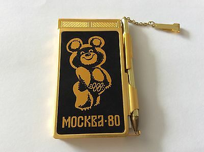 """USSR Soviet Russia Souvenir Notebook """"MOSCOW 80 Olimpic Bear Misha .With Box"""