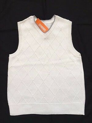 NWT Gymboree Picnic Party White Argyle Easter Boys Sweater Vest L 10/12 M 7/8