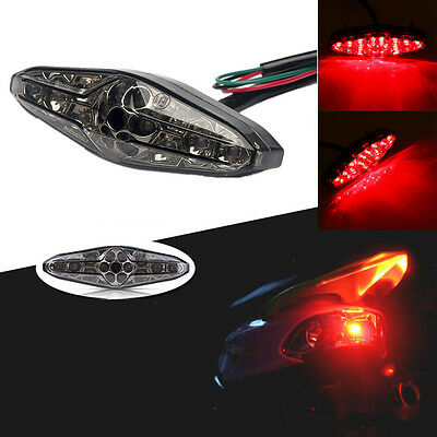 Universal Motorcycle Brake Light 15 LED Red Driving Taillight Smoke Lens 12V DC