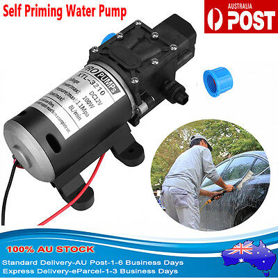 12V DC 100W 8L/Min 160PSI Black High Pressure Diaphragm Self Priming Water Pump