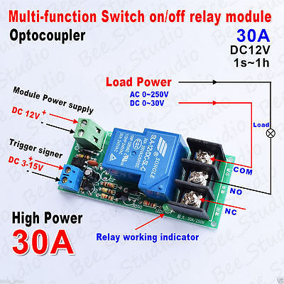 DC 12v High Power 30A Adjustable Delay Timer Relay Control Switch on/off Module