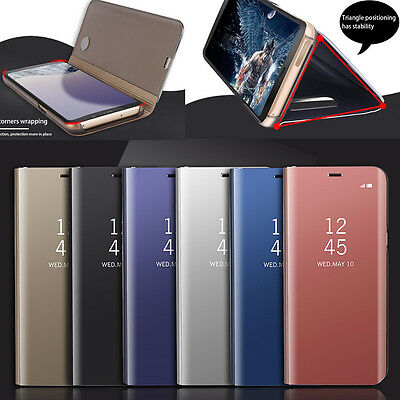 For Samsung S7/S8 + Mirror Clear Protective Smart Flip Stand Hybrid Case Cover