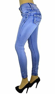 Stretch Push-Up Colombian Style Levanta Cola Skinny Jeans in Lt. BLUE AT-211