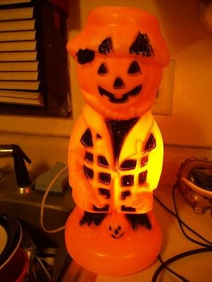 "Vtg 13"" Plastic Halloween Scarecrow Pumpkin Blow Mold Light Orange Black Works!!"