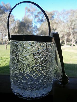 ReTrO crystal ice bucket NWT silverplate with tongs