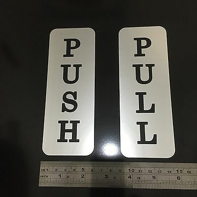 ENGRAVED PUSH / PULL SIGNS - 160mm x 60mm Silver / Black Vertical Style