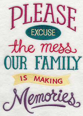 Embroidered Excuse the mess memories quilt block, fabric,cushion panel,quilt