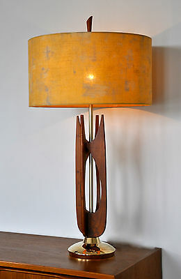 Vintage Retro Mid Century Danish Eames 'KRONE' Table Lamp Teak with new shade