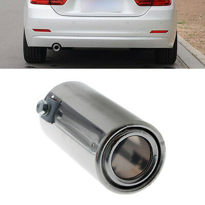 Car Universal Rear Round Exhaust Tail Pipe Throat Muffler Tip Stainless Steel