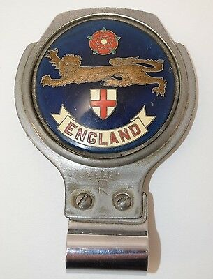 Vintage Car Grille Badge ENGLAND Lion Rose Shield Renamel BLUE Round Desmo Bar