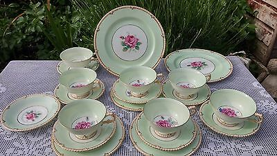 Paragon By Appointment Rose pattern light green tea service