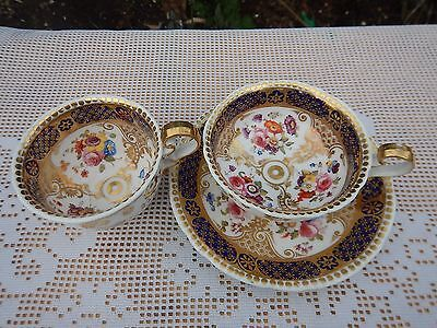 Antique Ridgway pattern 2/2958 hand painted floral cups and saucer