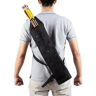 Portable Canvas Back Arrow Quiver Hunting Target Holding 24pcs Arrows Outdoor BK