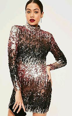 black sequin high neck bodycon dress s8 Missguided RRP60£