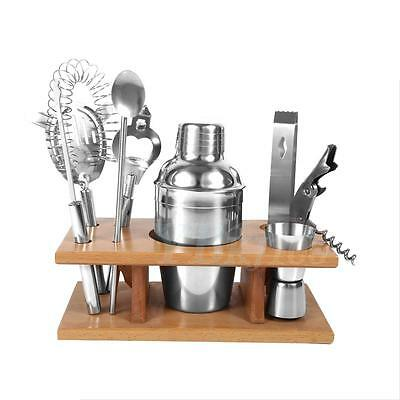 NEW 350ML Stainless Steel Cocktail Shaker Mixer Drink Tool Set With Wood Holder