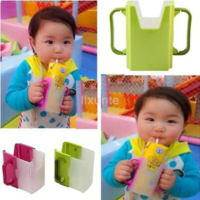 Baby Child Cup Holder Carton Milk Juice Water Drinking Adjustable Container UK