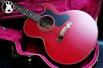 ✯RARE✯ GIBSON USA Starburst Studio Electro Acoustic ✯Cherry Red + Rosewood✯1994✯
