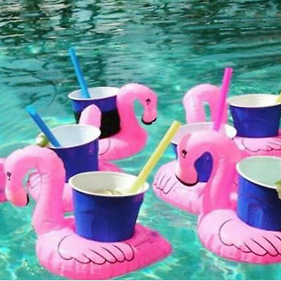1x Inflatable Pink Flamingo Coasters. Cup Drink Holder Swimming Pool Float Toies