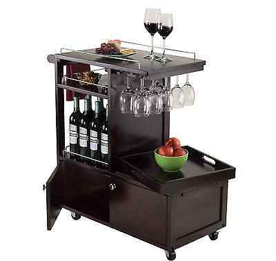 Rolling Entertainment Bar Cart w/ Serving Tray, Wine Storage Rack, Glass Holder