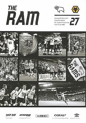 Derby County v Wolves 16/17 brand new football programme