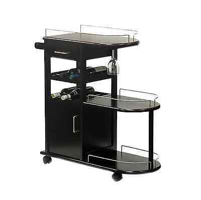 Rolling Brown Wood Entertainment Serving Bar Cart with Wine Rack, Glass Storage