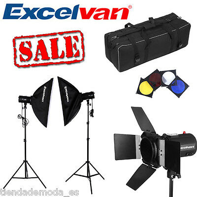 Estudio Fotográfico Softbox Soporte LED kit de Continua iluminación 5600K +Fundo