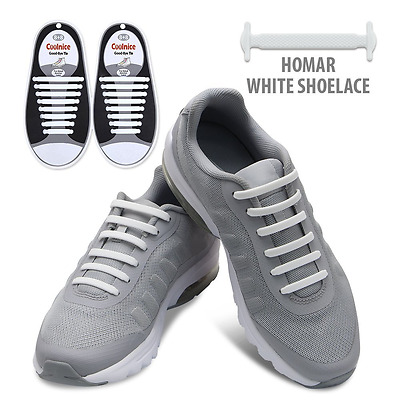 White Elastic Lacing System Laceless Shoes Slip On Shoe Laces Hickies 16 Pcs New