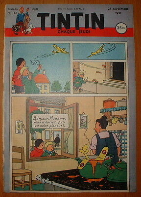 JOURNAL TINTIN N°153 de 1951 Couverture Studio
