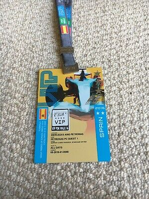 F1 PADDOCK PASS 2016 Spanish Grand Prix Formula 1