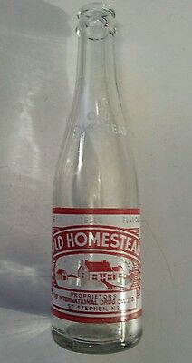 "Rare Canadian (St.stephen, N.b.) ""old Homestead"" 8 Oz Pop Bottle-Red & White Acl"