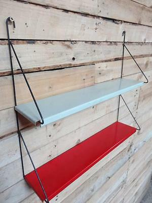 1960s RETRO VINTAGE  STRING/DUTCH COLOURED METAL TOMADO WALL SHELVING (B22)