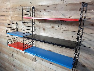 1960s RETRO VINTAGE  STRING/DUTCH COLOURED METAL TOMADO WALL SHELVING (B12)