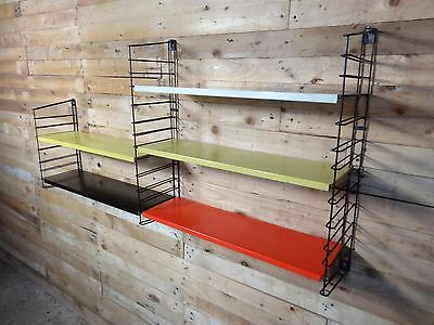 1960s RETRO VINTAGE  STRING/DUTCH COLOURED METAL TOMADO WALL SHELVING (B14)