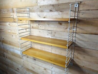 1960s RETRO VINTAGE  STRING/DUTCH METAL/WOOD TOMADO WALL SHELVING (B3)