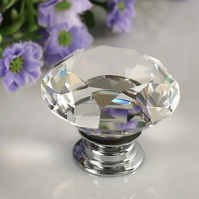 30mm Diamond Clear Crystal Glass Door Drawer Knob Handle Cabinet Wardrobe WW