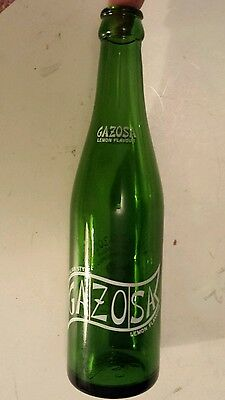 "Scarce Canadian (Toronto) ""vigor's Gazosa"" Green 10 Oz Pop Bottle - White Acl"