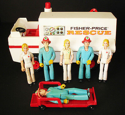 Vintage Fisher-Price Adventure People Emergency Crew W/rescue Truck Lot