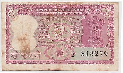 (N2-67) India 2 rupees bank note (A)