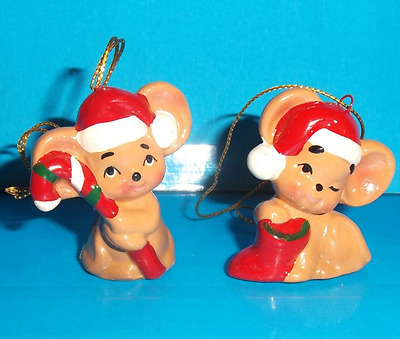 2 Lefton Christmas Mice Ornaments
