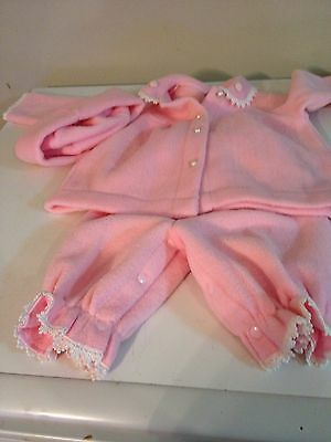 Baby Girl Size 0 Pink Jacket With Hat And Matching Pants