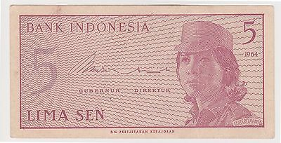 (N2-92) 1964 Indonesia 5 SEN bank note (M)