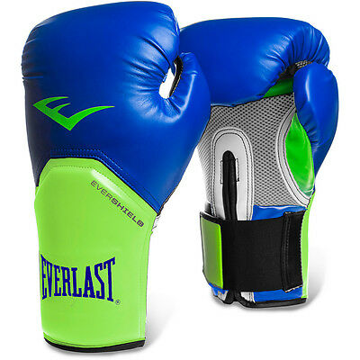 Everlast Pro Style Elite Training Boxing Gloves Mitts Green/Blue SALE PRICE!