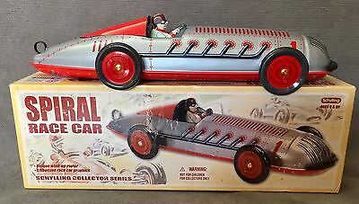 Spiral Race Car Tin Toy Schilling Wind Up Motor # 85083 Collectors Series
