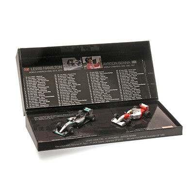 Minichamps 412414408 1/43 2 Car Hamilton/Senna 41 Victories Presentation F1 Set