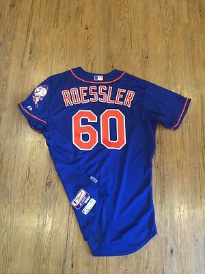 Roessler 2015 New York Mets Game Issued Blue Alt Jersey