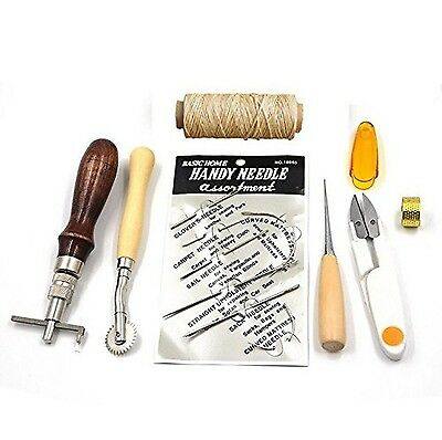 7pcs Set Leather Carft Hand Basic Hand Stitching Sewing Tool Set Kit Thread A...